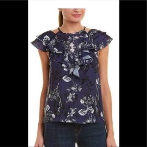 PARKER NAVY PRINTED PARADISE BLOUSE